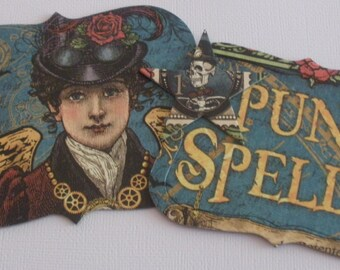 """STEAMPUNK SPELLS --  Chipboard Letters --  1.5"""" Alphabet Die Cuts with Ornate Notes & Star"""