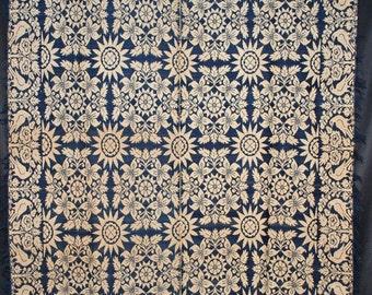 "1850s Indigo Blue & White Coverlet With Eagles Birds Buildings Center Seam  85"" X 70"""