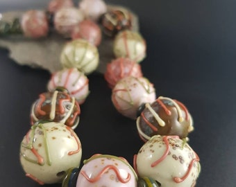 Handmade Lampwork Necklace - Lichen and soft pinks