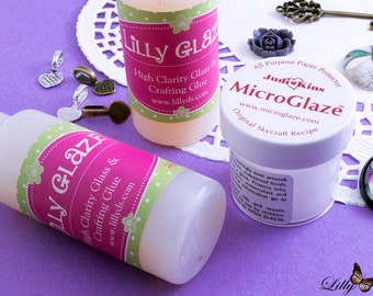 Glue Starter Kit for Inkjet Prints - 1 MicroGlaze by Judikins - 1 Lilly Glaze Glass Cabochon Glue