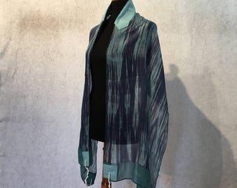 Blue and Green Silk Tallit
