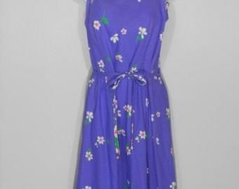 Vintage 1980s Malia Honolulu Purple Floral Print Spaghetti Strap Sun Dress / size 14 / 80s Aloha Bombshell Beach Wear