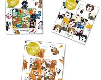 Animal stickers/seals in packs of 70, available in 3 designs