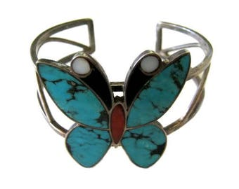 Vintage Sterling Silver & Inlay Butterfly Cuff Bracelet - Signed