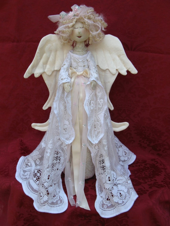 Heavenly Angel - Cloth Doll E-Pattern- 18in Beautiful Holiday Lace Heavenly Angel free standing stump doll