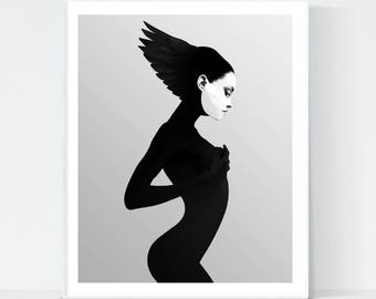 Scandinavian wall art, black and white wall art of a mysterious woman, instant download for wall decoration, modern print