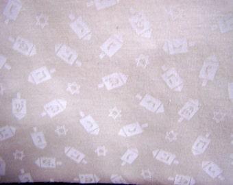 Judaic Fabric White on White  Stars and Dreidels Quilting Fabric By the Half Yard