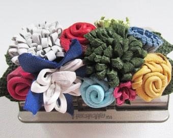 Leather flower hair clamp, colourful flower hair claw, decorated Linziclip, leather hair tie, rainbow hairclip, decorated bun holder, Ruby62