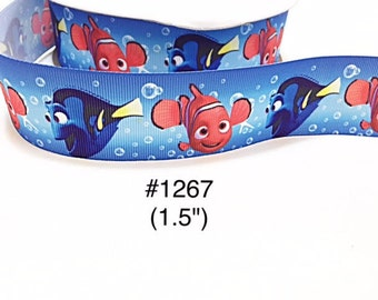 """3 or 5 yard - 1.5"""" Finding Nemo and Dory Fish Bubble Blue Grosgrain Ribbon Hair bow"""