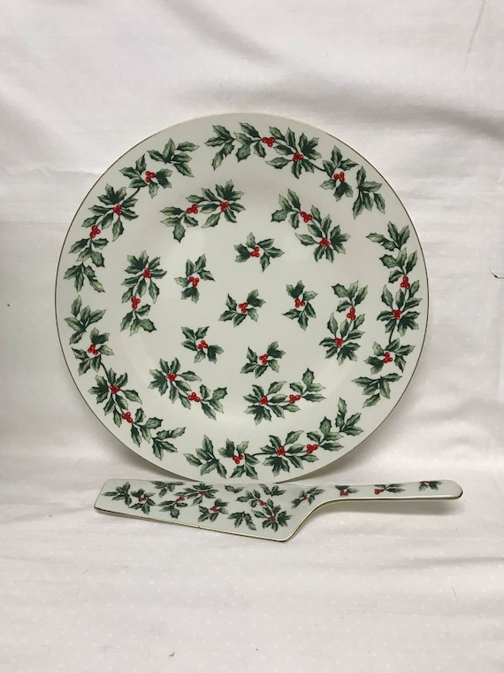 Formalities By Baum Bros Christmas Holly Cake Plate And Server