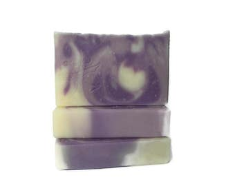 Lavender Essential Oil Soap - Bedtime Relaxing Scent - Artisan Design with Swirls - Vegan & Cruelty Free -  Cold Process - Purple