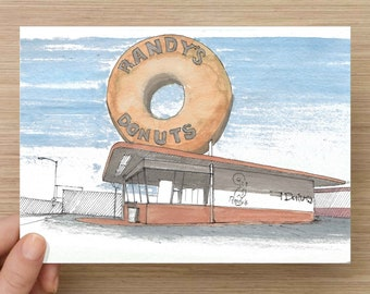 Ink and Watercolor Drawing of Randys Donuts in Los Angeles, California - Architecture, Drive Thru, Sketch, Art, Pen and Ink, 5x7, 8x10