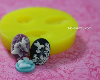 Butterfly Cameo Mold Hummingbird Mold Resin Ovals are 18x25mm Cabochon Mold Fondant Chocolate Mold Polymer Clay Mold