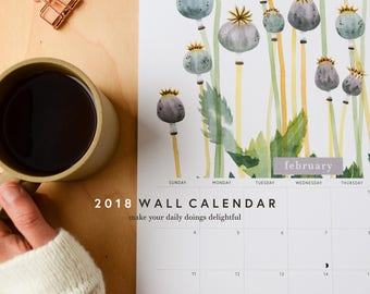 50% OFF!  2018 11x17 Wall Calendar | Botanical Watercolor 12-Month Calendar