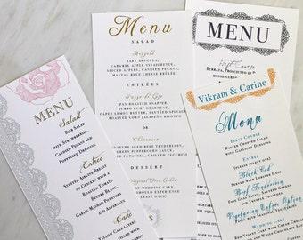 Beacon Lane Wedding Menu Cards - Purchase to Start the Ordering Process