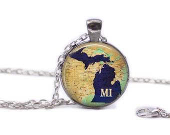 Michigan Necklace Michigan Jewelry Travel Necklace Map Jewelry Map of Michigan