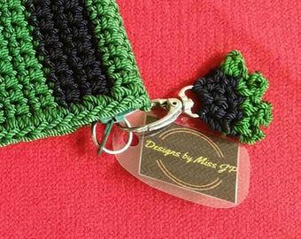 Green Coin Purse Green Crochet Bag Green Wristlet  - credit card holder crochet green