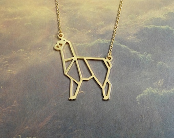 Alpaca, Origami Necklace, Animal Necklace, Alpaca Jewelry, Unique Necklace, Animal lover gift, Gift for her, Alpaca gift, Gift under 40