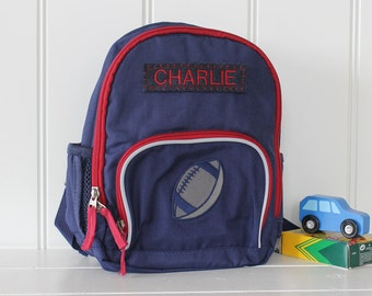 Personalized Toddler (Mini Size) Backpack Pottery Barn -- Navy/Red With Football Patch