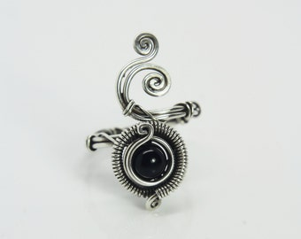 Steampunk ring ''Kyoto'' Sterling silver and Black Onyx - Gothic jewelry - special occasion gift
