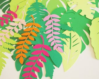 "Tropical Jungle Leaf Cutouts, Vine Cutouts Palm Leaf Luau Party Decoration, Monstera Leaf, 5""-7"", Photo Prop, Jungle Theme, Dinosaur Theme"