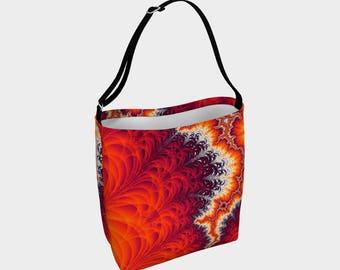 Lightning Bolt Fractal Tote Bag, large tote bag, day bag, purse, fractal print