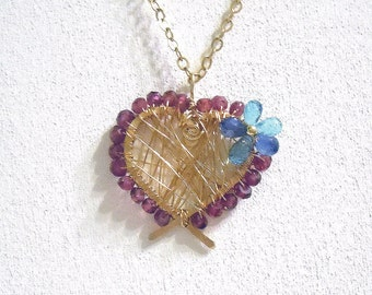 Rhodolite garnet, blue topaz and kyanite gold fill wire wrapped heart pendant necklace
