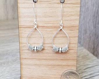 Silver Plated, Silver Loop & Accents Drop Earrings
