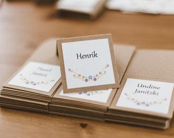 Rustic place card / Wedding place cards / Floral wedding / Kraft paper name card / Barn wedding / Boho wedding decorations / Flowers