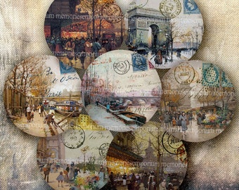 Shabby Chic Paris Decoupage 2 inch Circles Vintage Parisian Street Scenes for Buttons Badges Magnets Digital Collage Sheet Download 438
