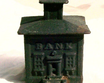 Vintage Black Cast Iron Bank Building Small Still Bank