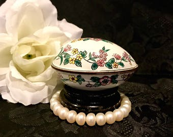 on sale copper box chinese enamel and copper floral egg trinket jewelry box vanity accessory