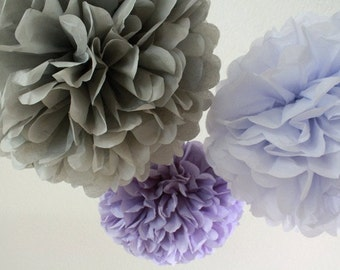 3 Paper Pom Poms - Your Color Choice- SALE