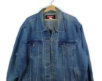 Damaged Wrangler Blue Denim Jacket /Jean Jacket  from 90's