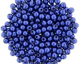 Czech Glass Beads - Round Beads - ColorTrends Saturated Metallic Lapis Blue - 2mm Beads - 100 Beads