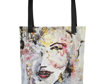 Fine Art Tote bag, Abstract Woman, Figurative, Red, White, Black