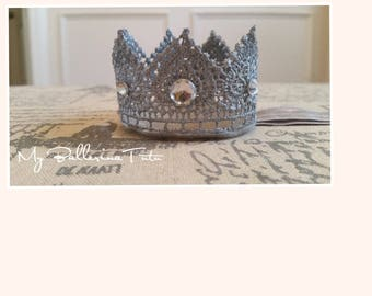 Gray Lace Crown, Birthday Crown, Lace Crown Headband, First Birthday Crown