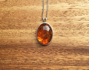 Sterling Silver Amber Pendant Amber Necklace Amber Jewellery Gift For Her Anniversary Gift Birthday Gift Womens Pendant Handmade STSP7