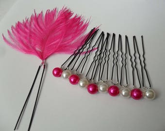 11 feather fuchsia ostrich fuchsia Ivory Pearl bridal hair accessories bridal hair pins