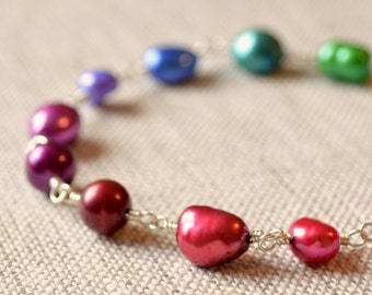 Pearl Bracelet, Jewel Tones, Real Freshwater, Pink Red Purple, Colorful, Wire Wrapped, Sterling Silver Jewelry, Free Shipping