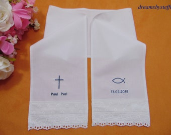 Christening scarf with embroidery plain weave 100% Cotton