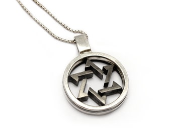 Star of David necklace, jewelry gift pendent, Judaic jewelry, sterling silver,black silver