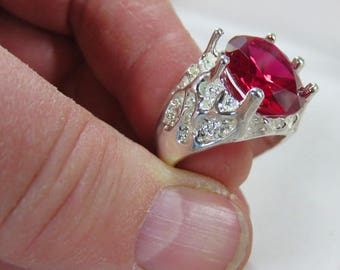 Mens Ruby Ring x2 - 16x12mm Lab-Created Ruby Ring - Sterling Silver Ring in 4 Sizes