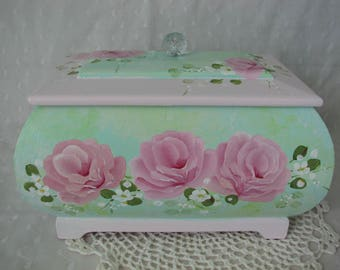 Pink Roses Box Hand Painted Cottage chic home decor Wood Treasure