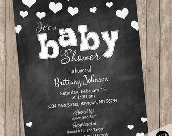 Chalkboard hearts baby shower invitation, heart invitation, baby shower invitation, chalkboard baby shower invitation, chalkboard hearts