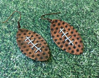 Embossed metal football earrings, handmade earrings
