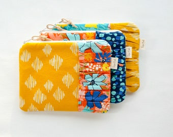 Patterned Fabric Case w/Ruffle, Zipper Pouch, Cosmetic Bag, Women, Organize, Stocking Stuffer, Clutch, Wallet, Teens, Canvas, Coin Purse