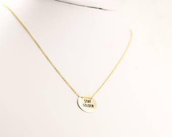 Engraved Disc Necklace, 14k Gold Fill, Stay Golden, Ohana, Sun Kissed, Beach Girl, Salty Soul, Sunshine, Aloha