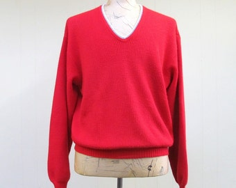 Vintage 1960s Mens Sweater / 60s Red V Neck Pullover / Extra Large