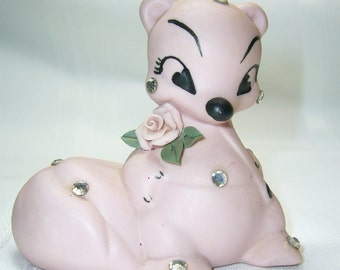 Vintage Bone China Matte Pink Skunk  Figurine 1950's